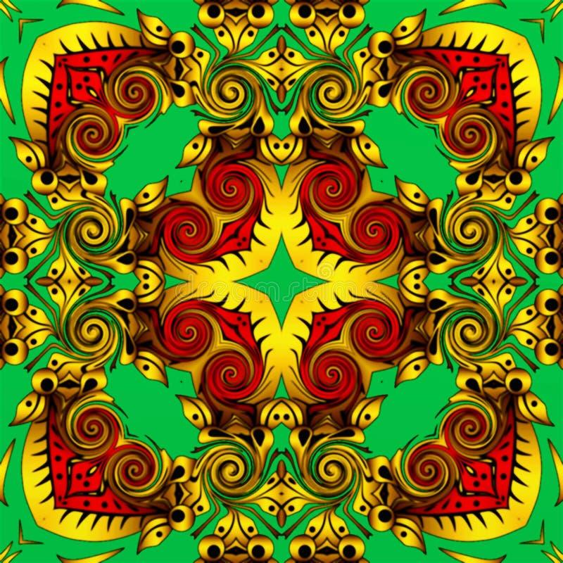 Abstrakt geometri av modern konst Mystisk östlig mandala traditionell design för blom- kalejdoskop Psykedelisk symmetrisk backgro stock illustrationer