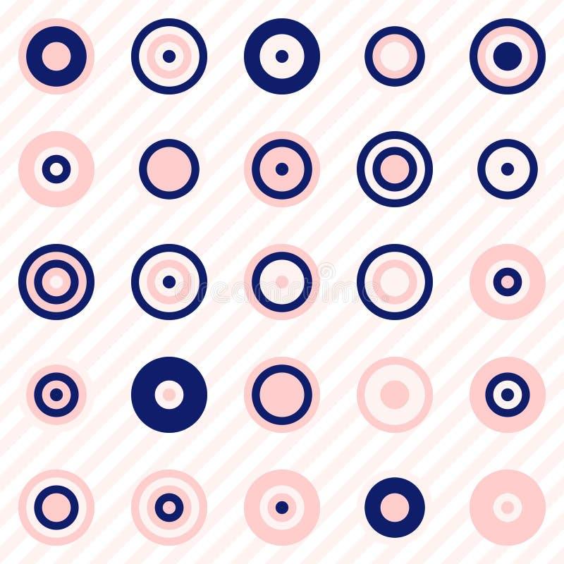 Abstrakt geometri, cirklar och prickar i marinblåa och rodnadrosa färger stock illustrationer