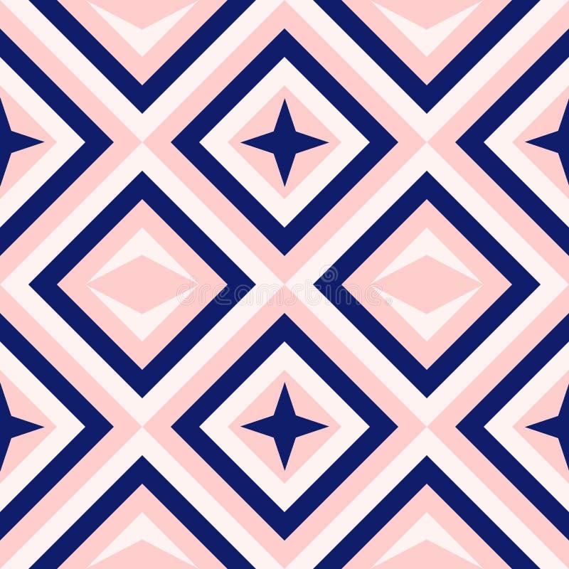 Abstrakt geometri i marinblått och rodnar rosa färger, diamantformer och stjärnamodemodellen royaltyfri illustrationer