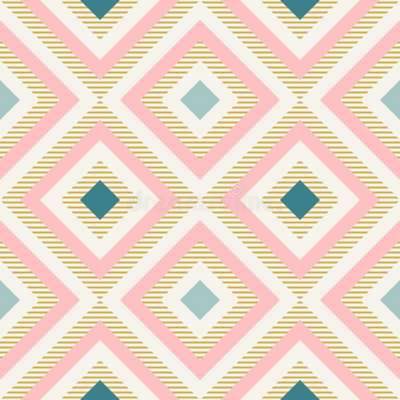Abstrakt geometri i retro färger, modell för diamantformgeo stock illustrationer