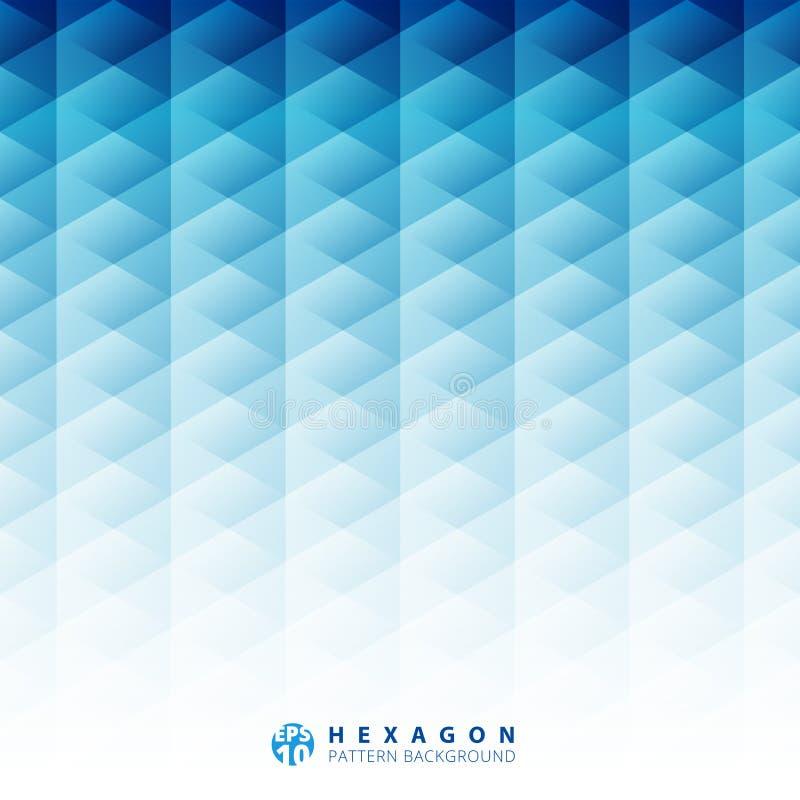 Abstrakt geometrisk bakgrund för sexhörningsmodellblått, idérik des vektor illustrationer