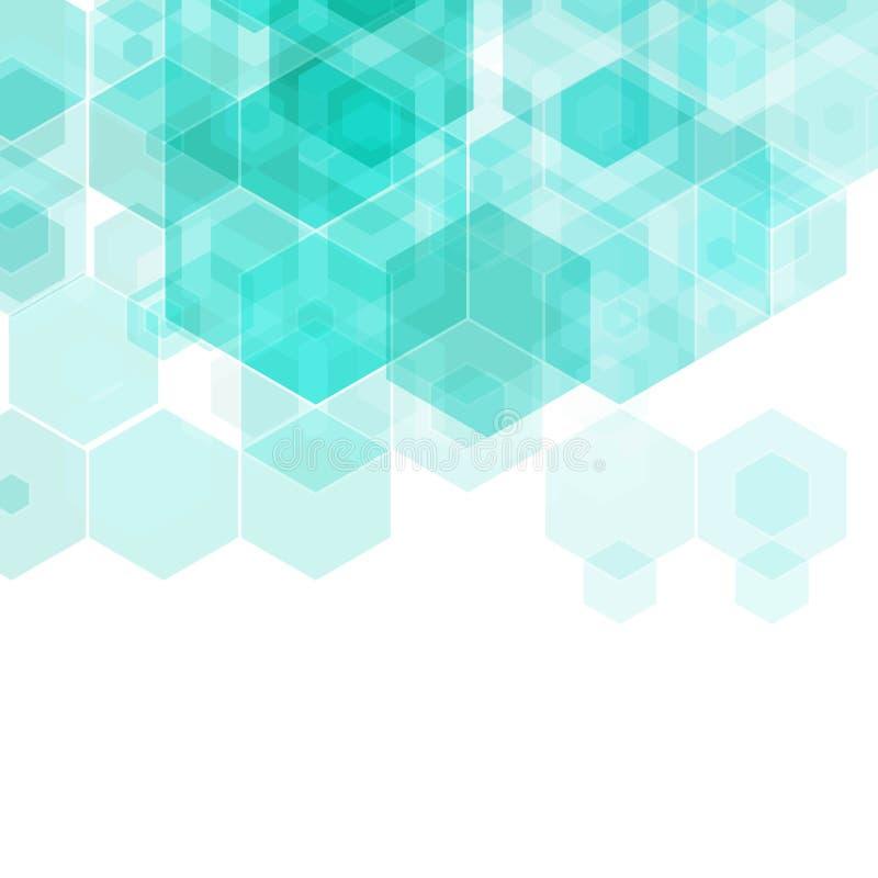 Abstrakt geometrisk bakgrund för vektor abstrakt bakgrundsbluesexhörning stock illustrationer