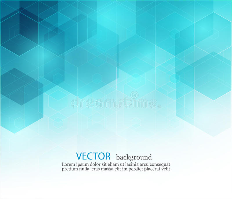 Abstrakt geometrisk bakgrund för vektor Mallbroschyrdesign Blå sexhörningsform EPS10 royaltyfri illustrationer