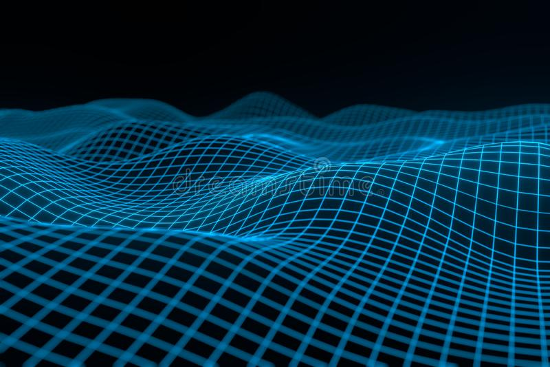 Abstrakt geometrisk bakgrund med digitalt landskap eller v?gor Tolkning f?r Montain wireframehologram 3 D stock illustrationer