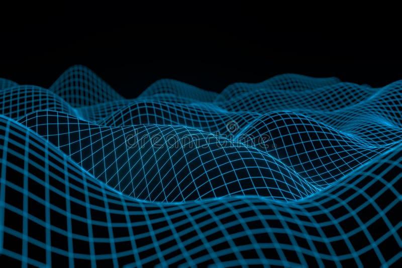 Abstrakt geometrisk bakgrund med digitalt landskap eller v?gor Tolkning f?r Montain wireframehologram 3 D royaltyfri illustrationer