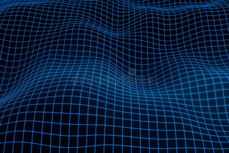 Abstrakt geometrisk bakgrund med digitalt landskap eller v?gor Tolkning f?r Montain wireframehologram 3 D vektor illustrationer