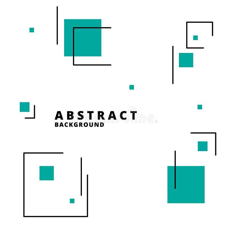 Abstrakt geometrisk bakgrund med gröna fyrkanter och linjer i minimalistic stil också vektor för coreldrawillustration Idérik vek stock illustrationer