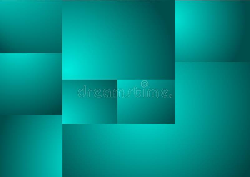 Abstrakt geometrisk bakgrund med turkosfyrkanter vektor stock illustrationer