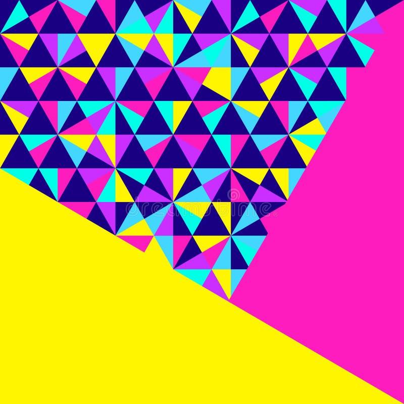 Abstrakt geometrisk bakgrund, neonmemphis stil stock illustrationer