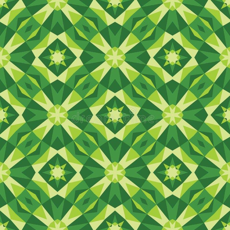 Abstrakt geometrisk bakgrund - sömlös vektormodell i gröna färger Etnisk bohostil Mosaisk prydnadstruktur vektor illustrationer