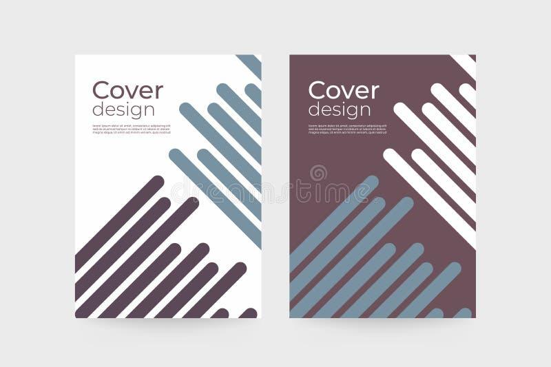 Abstrakt geometrisk bakgrundsbrunt och blåa diagonala linjer Modern mall för affärsbroschyrräkning royaltyfri illustrationer