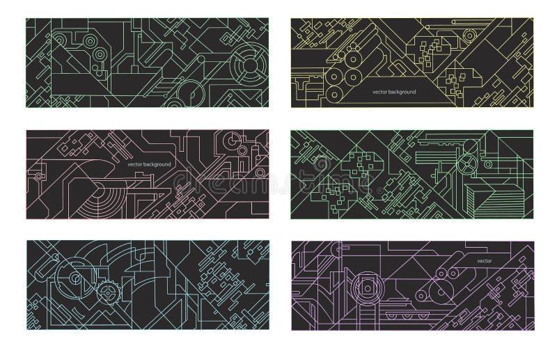 Abstrakt geometrisk bakgrundsuppsättning royaltyfri illustrationer