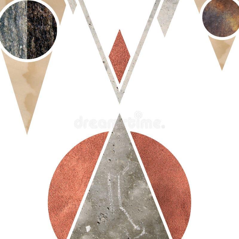 Abstrakt geometrisk bergbakgrundsdesign Geometriska former med en naturlig textur Retro etikettdesign som är tryckbar royaltyfri illustrationer