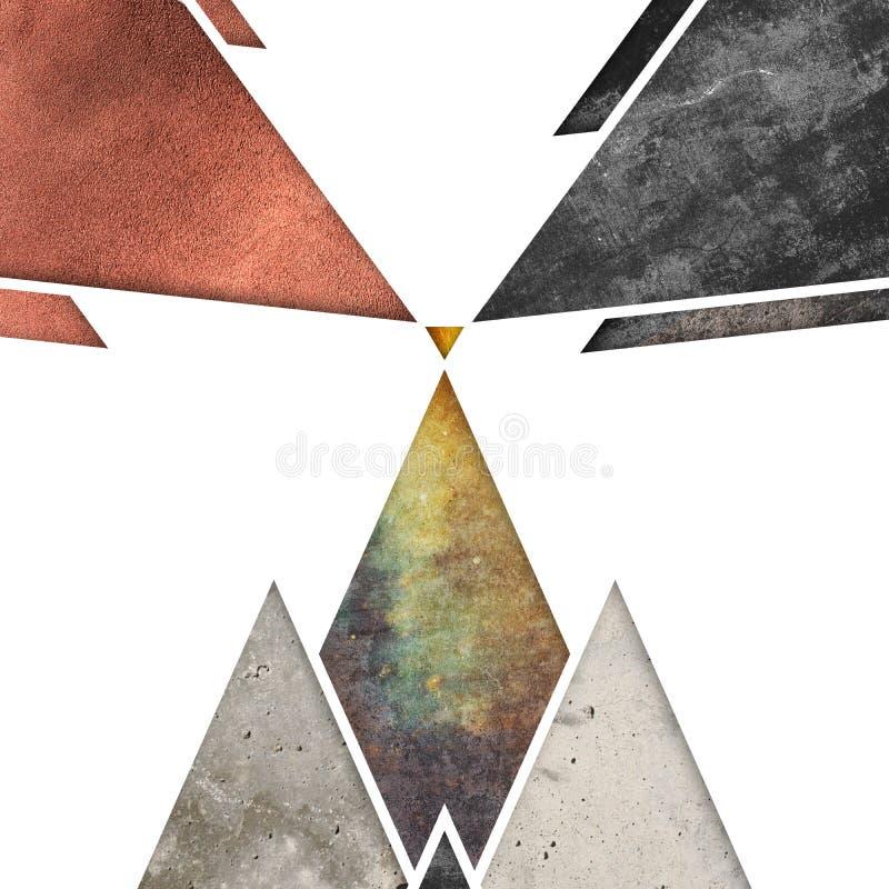 Abstrakt geometrisk bergbakgrundsdesign Geometriska former med en naturlig textur Retro etikettdesign som är tryckbar stock illustrationer