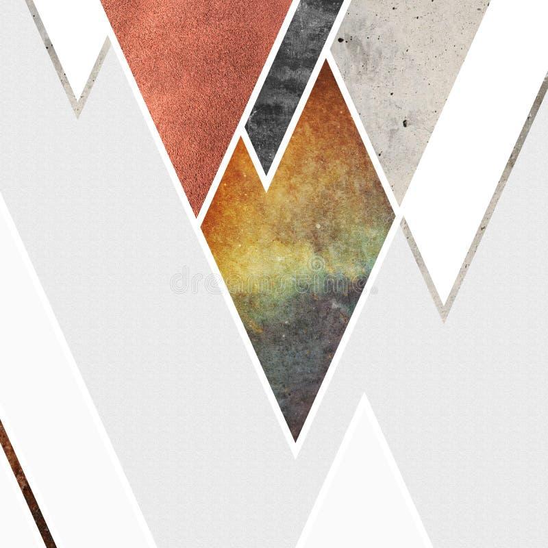 Abstrakt geometrisk bergdesign med grå bakgrund Geometriska former med en naturlig textur Retro etikettdesign som är tryckbar royaltyfri illustrationer