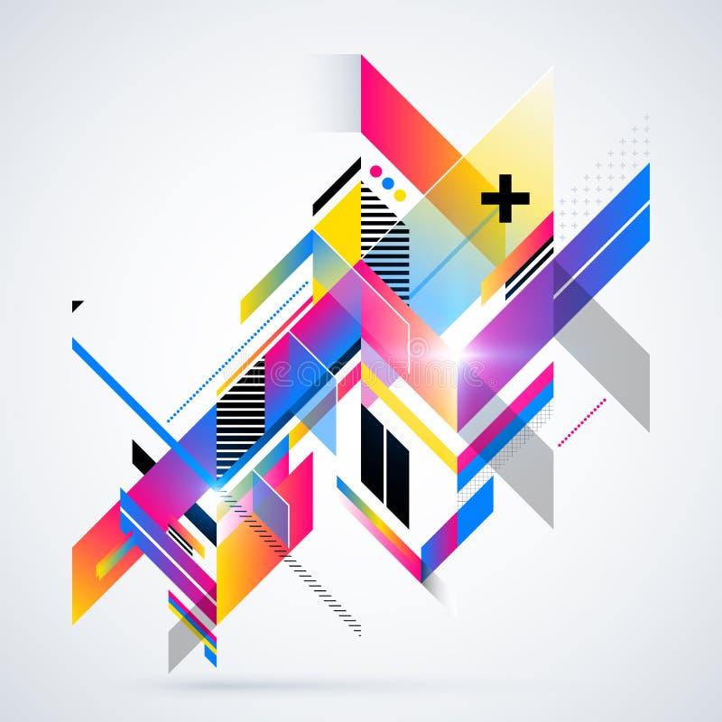 Abstrakt geometrisk beståndsdel med färgrika lutningar och glödande ljus royaltyfri illustrationer