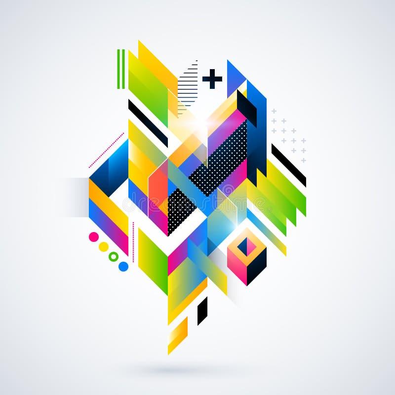 Abstrakt geometrisk beståndsdel med färgrika lutningar och glödande ljus stock illustrationer