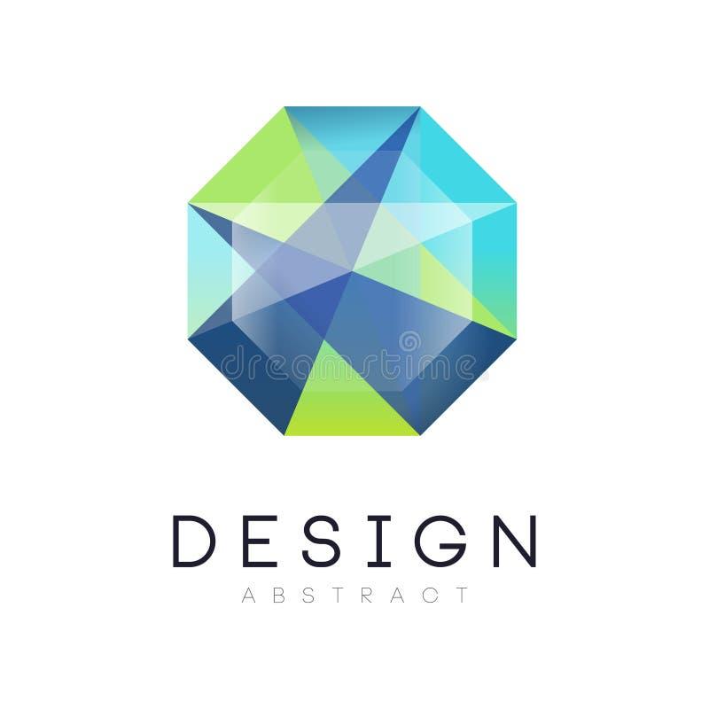 Abstrakt geometrisk crystal logo Original- etikett i blåa och gröna färger för lutning Vektordesignen för smycken shoppar stock illustrationer