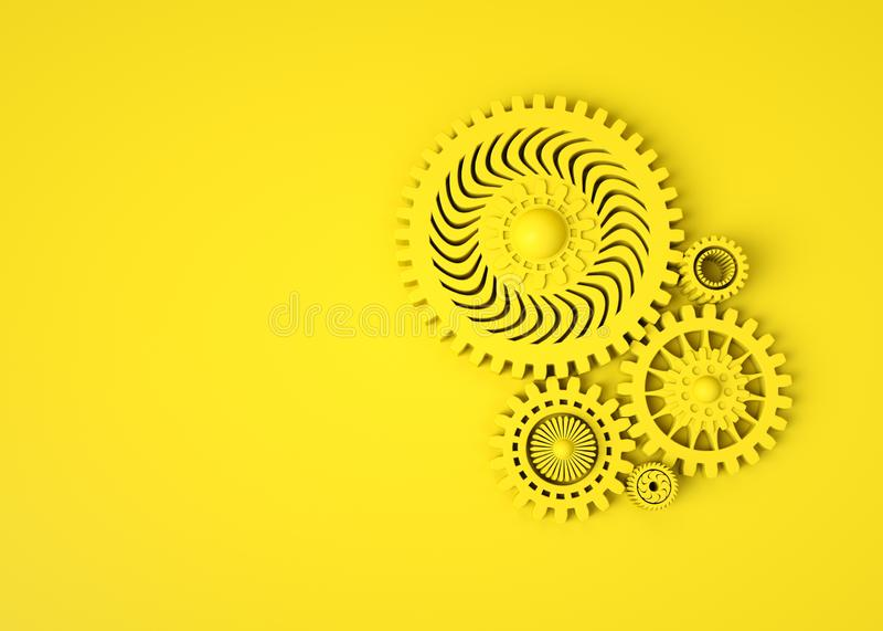 Abstrakt geometrisk design 3D Sammansättning av gula kugghjul på gul bakgrund monokrom Mekanisk teknologimaskin stock illustrationer