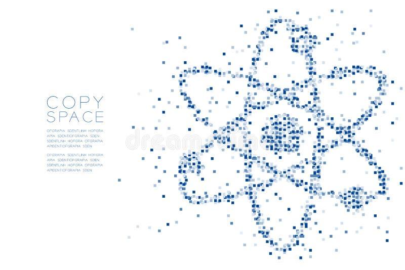 Abstrakt geometrisk för modellatom för fyrkantig ask form för symbol, vetenskapsbegreppsdesign royaltyfri illustrationer