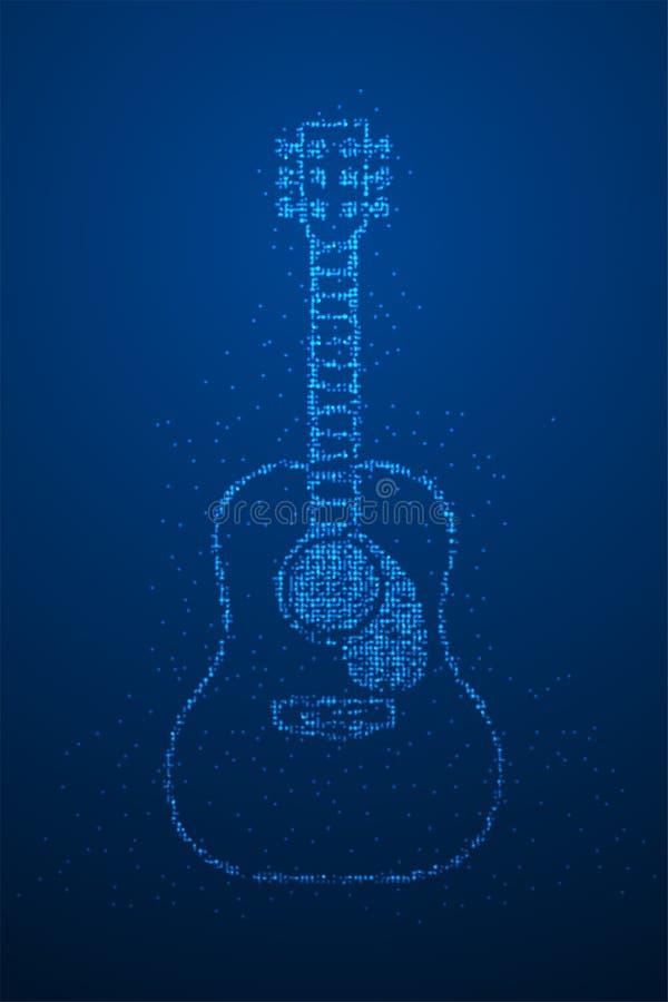 Abstrakt geometrisk form för akustisk gitarr för modell för PIXEL för Bokeh cirkelprick, illustration för färg för design för beg vektor illustrationer