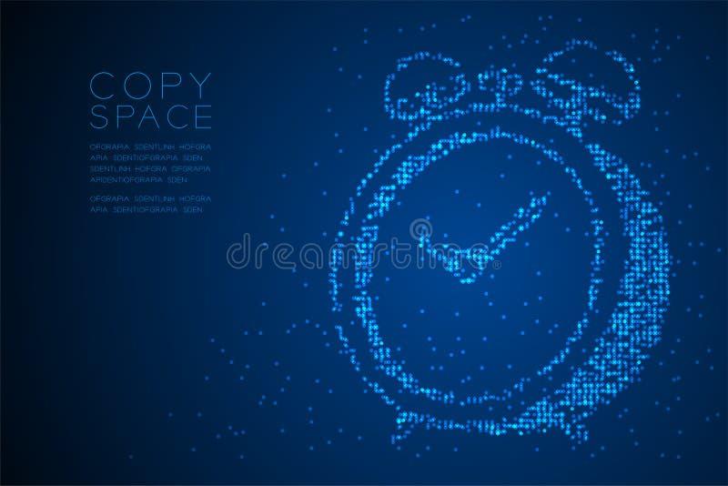 Abstrakt geometrisk form för ringklocka för modell 3D för PIXEL för Bokeh cirkelprick, digital illustration för färg för blått fö vektor illustrationer