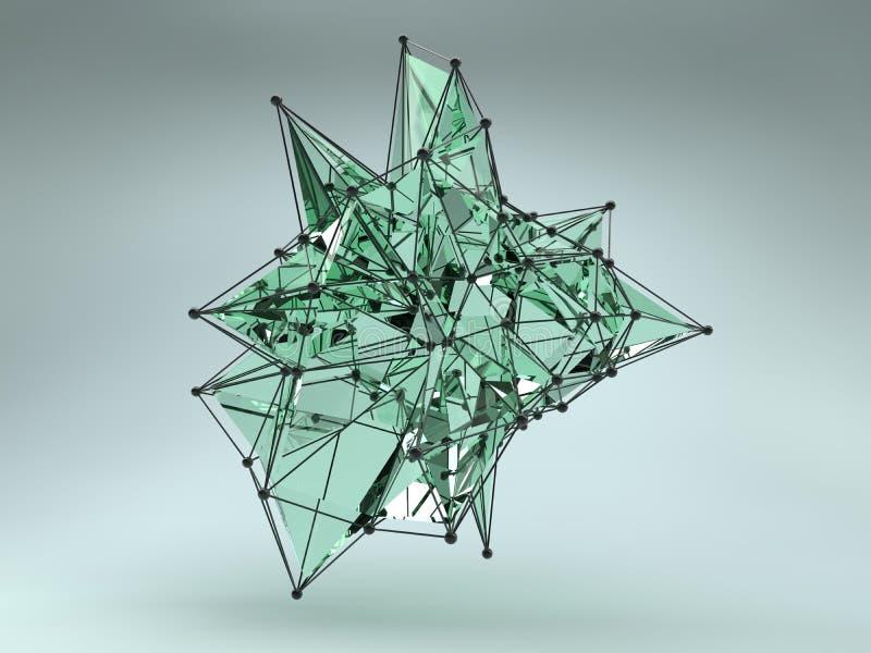 Abstrakt geometrisk form från triangulära framsidor stock illustrationer