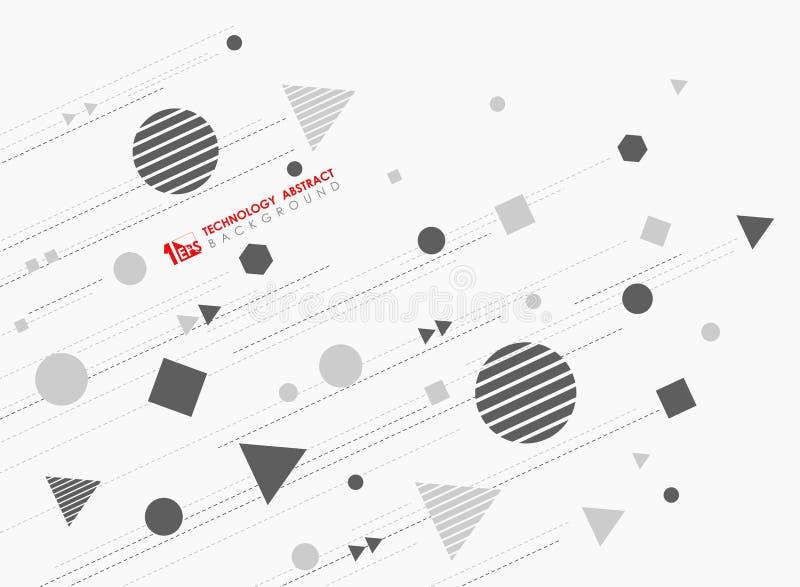 Abstrakt geometrisk formmodelldesign av ny teknik med linjer dekorativ bakgrund Illustrationvektor eps10 vektor illustrationer