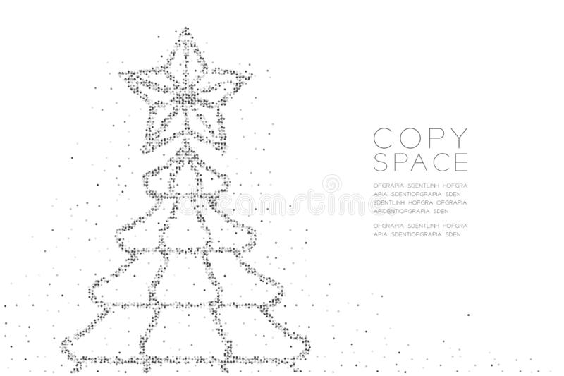 Abstrakt geometrisk julgran för modell för cirkelprickPIXEL med stjärnaform, för berömbegrepp för lyckligt nytt år färg för svart stock illustrationer