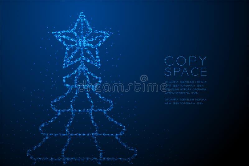 Abstrakt geometrisk julgran för modell för PIXEL för Bokeh cirkelprick med stjärnaform, för berömbegrepp för lyckligt nytt år blå royaltyfri illustrationer