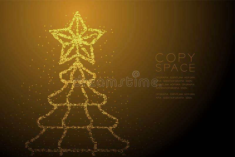 Abstrakt geometrisk julgran för modell för PIXEL för Bokeh cirkelprick med stjärnaform, för berömbegrepp för lyckligt nytt år gul vektor illustrationer