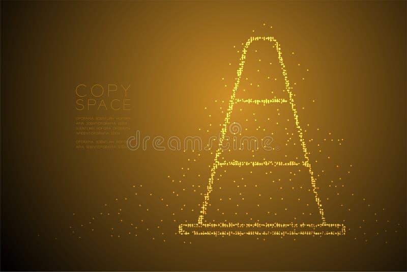 Abstrakt geometrisk kotte för trafik för modell för PIXEL för Bokeh cirkelprick, illustration för färg för design för beg royaltyfri illustrationer