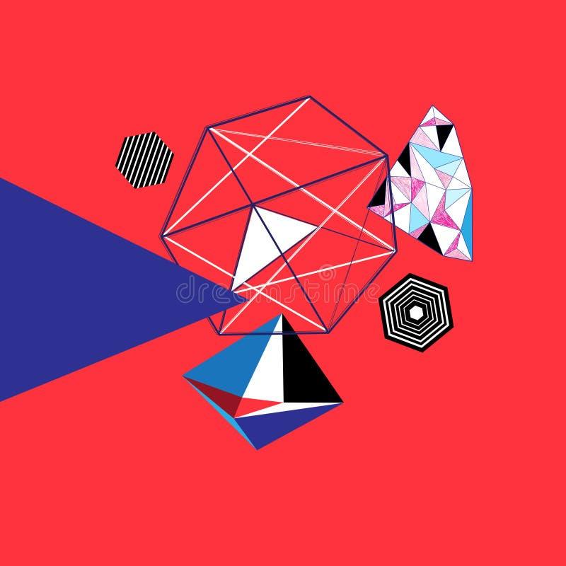 Abstrakt geometrisk mång--färgad bakgrund med rött royaltyfri illustrationer