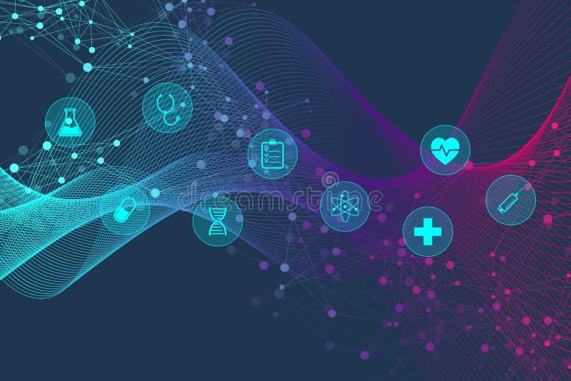 Abstrakt geometrisk medicin- och vetenskapsbegreppsbakgrund Sjukvård och medicinsk symbolsmodell med molekylen, DNA vektor illustrationer