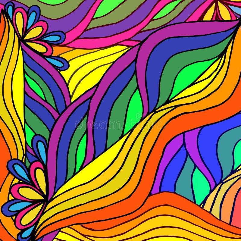 Abstrakt geometrisk modell av regnbågelinjer royaltyfri illustrationer