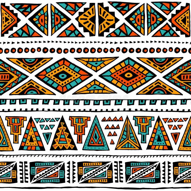 abstrakt geometrisk modell Etniska och stam- motiv Apelsin ye royaltyfri illustrationer