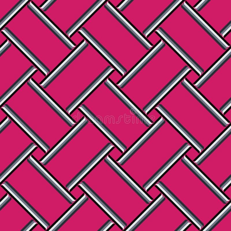 Abstrakt geometrisk modell, färgrik rosa sömlös bakgrund vektor illustrationer