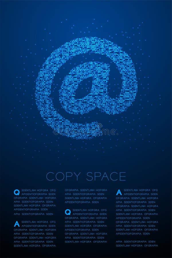 Abstrakt geometrisk modell för PIXEL för Bokeh cirkelprick på teckensymbolen, online-illustration för färg för begreppsdesign som stock illustrationer
