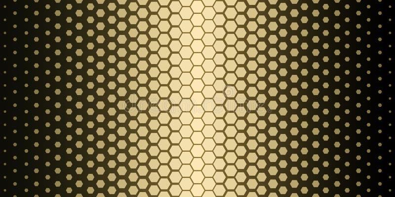 abstrakt geometrisk modell Modell för tryck för Hipstermodedesign sexhörnig Guld- honungskakor på en svart bakgrund vektor vektor illustrationer