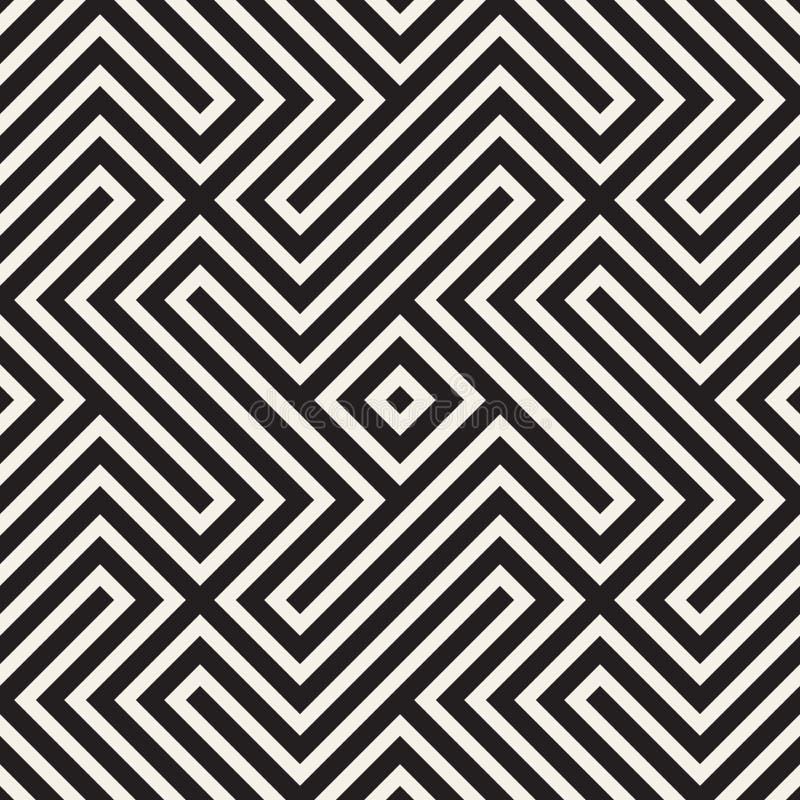 Abstrakt geometrisk modell med band, linjer seamless vektor för bakgrund Svartvit gallertextur royaltyfri illustrationer