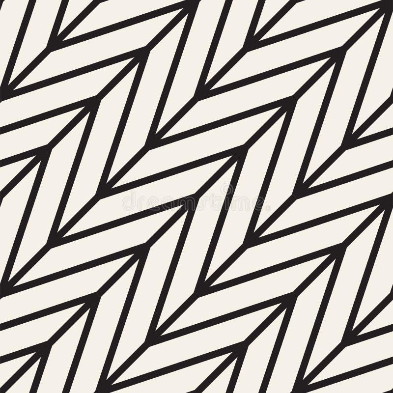 Abstrakt geometrisk modell med band, linjer seamless vektor för bakgrund Svartvit gallertextur vektor illustrationer