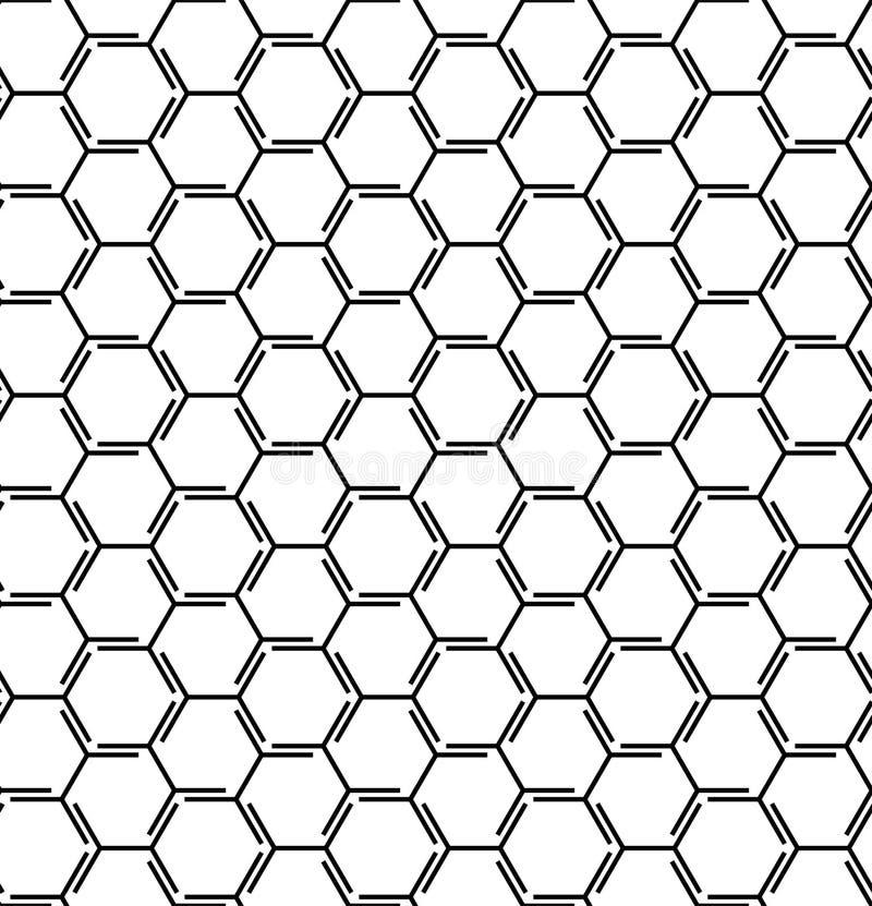 Abstrakt geometrisk modell med linjer, kuber, sexhörningar, romb seamless vektor för bakgrund Redigerbar vektorillustration Svart stock illustrationer