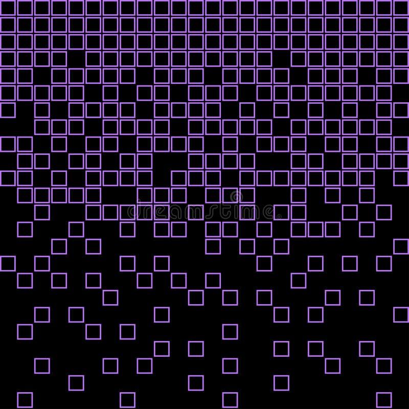 Abstrakt geometrisk modell med purpurfärgade fyrkanter på svart bakgrund vektor royaltyfri illustrationer