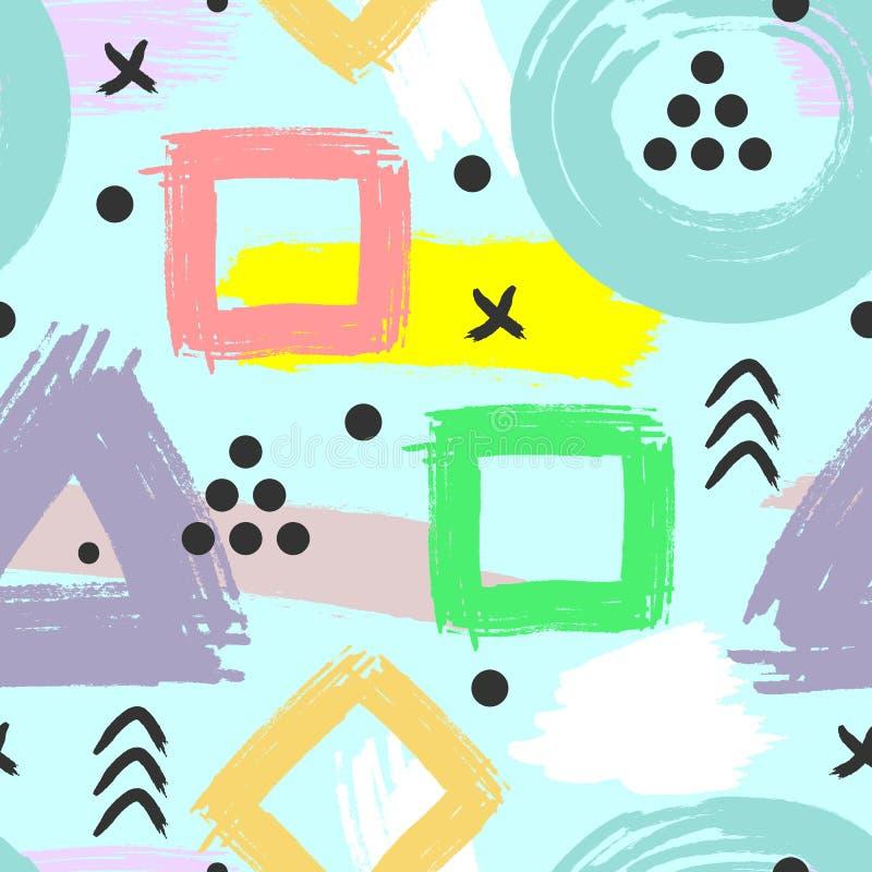 Abstrakt geometrisk modell som dras av borsten Grunge skissar, akvarellen royaltyfri illustrationer
