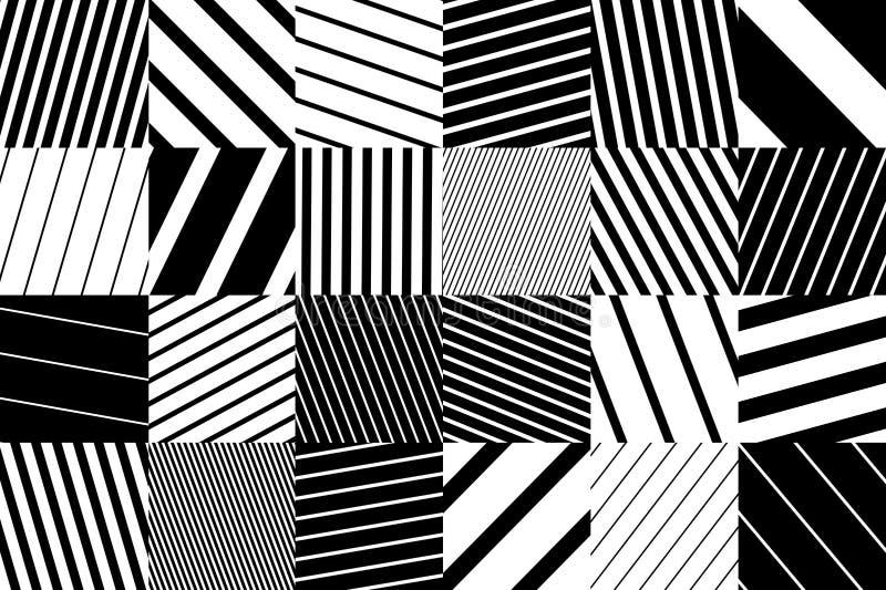 Abstrakt geometrisk modellbakgrund med svartvita randiga fyrkanter vektor illustrationer