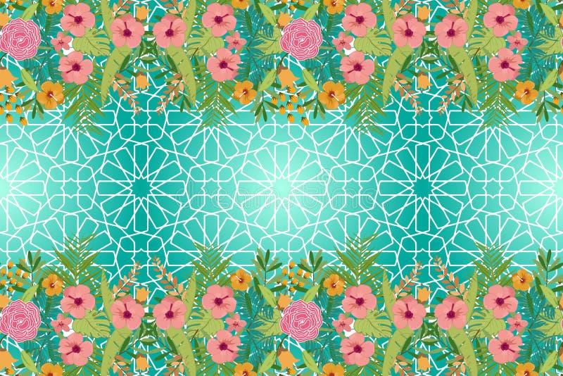 Abstrakt geometrisk mosaikmodell med tropiska blommor royaltyfri illustrationer
