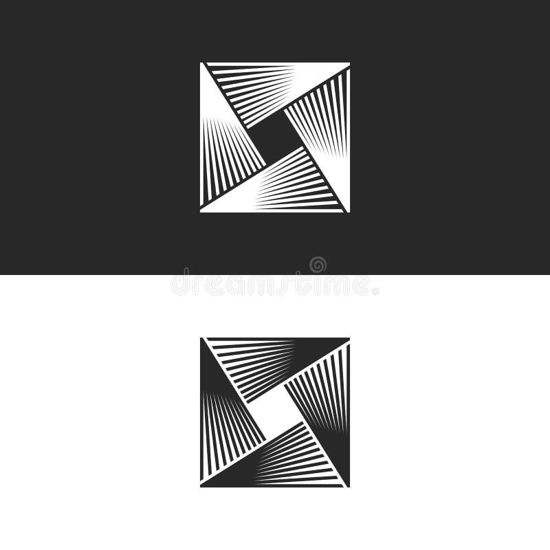 Abstrakt geometrisk oändlighetsform för fyrkantig logo, linjärt oändligt illusionsymbol för teknologi, crosslightssymbol stock illustrationer