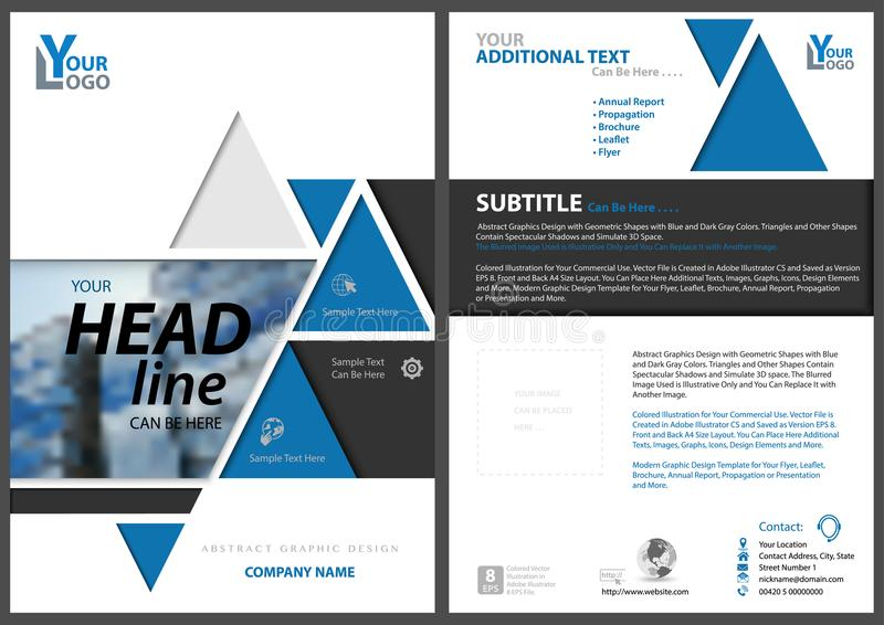 Abstrakt geometrisk reklambladmall med trianglar vektor illustrationer