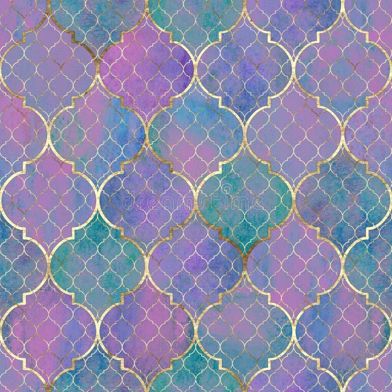 Abstrakt geometrisk sömlös modell för vattenfärg Arabiska tegelplattor Kalejdoskopeffekt Vattenf?rgmosaik stock illustrationer