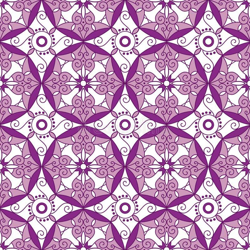 Abstrakt geometrisk sömlös modell med den blom- prydnaden i lilor och Rose Pink Color royaltyfri illustrationer